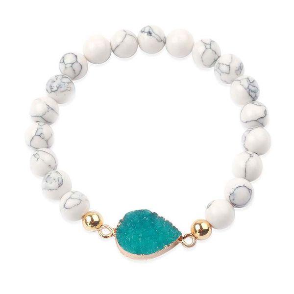 Простые моды стиль ручной браслет Классический браслет Geode Druzy кварц Подвеска Браслет Натуральный камень из бисера кристалл агата Унисекс ювелирные изделия
