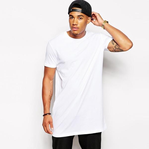 Branco Casual Tamanho Longo Mens Hip Hop Tops Streetwear Extra Longo Camisetas Para Homens Longline T-Shirt Manga Curta Tshirt Hot