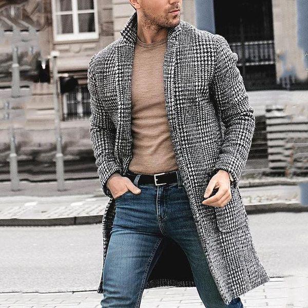 Hombres de invierno diseñador abrigos largos de lana para hombre de la moda de la tela escocesa de calentamiento Cardigan Abrigos Manteaux Pour Hommes