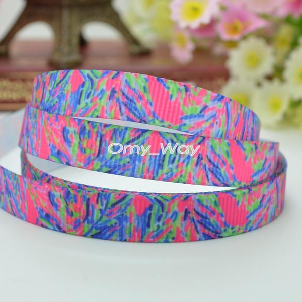 "Lilly Ribbons 3/8"" 9mm Flowers Print Grosgrain Ribbon Hair Bow DIY Handmade Gift Tipe Ribbon OEM 50Yards 0368"