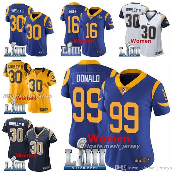 the best attitude 62b73 be60e 2019 Women Super Rams Bowl Los Angeles Jersey 30 Todd Gurley II 16 Jared  Goff 99 Aaron Donald Stitched Jerseys Great Quality Women Awesome Shirts ...