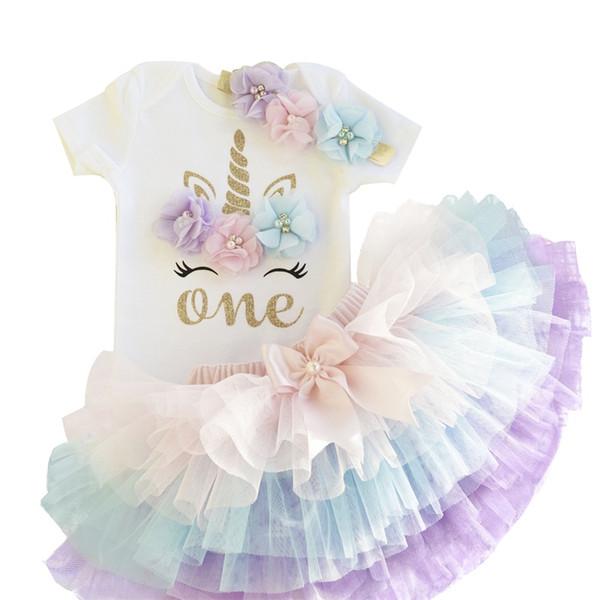1 год девочка ребенок день рождения платье единорога цветок новорожденный принцесса костюм 12 месяцев крещение платье торт разбить наряды