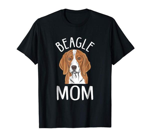 Beagle Mom Cão Engraçado Homens Preto Camiseta M-3XL Manga Curta Plus Size t-shirt