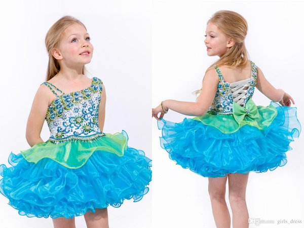 Cute Little Baby Girl Pageant Dresses Short With Bow Beadings Glitz Children Ball Gowns Infant Cupcake Flower Girls Dresses Party Baby Gowns
