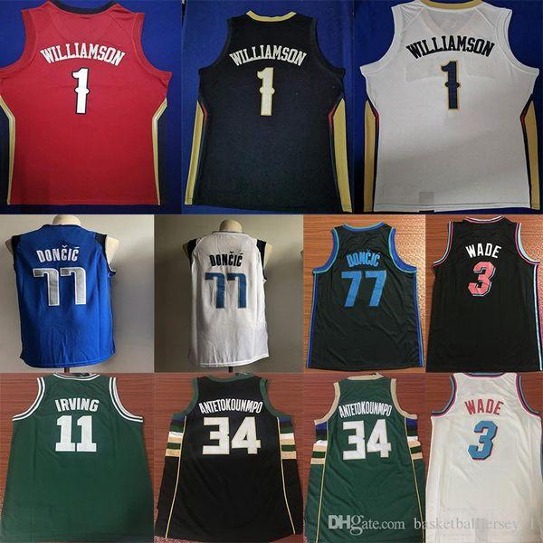 NCAA Zion 1 Williamson Maglie Dwyane 3 WADE Damian 0 Lillard Giannis 34 ANTETOKOUNMPO 77 DONCIC 11 Irving College Mens Maglia da basket