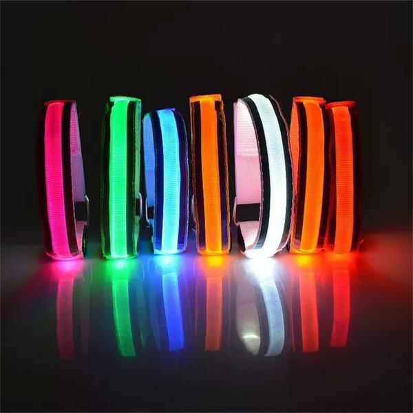 LED Reflective Light Arm Armband Strap Safety Belt For Night Running Cycling Hand Strap Wristband Wrist Bracelets #