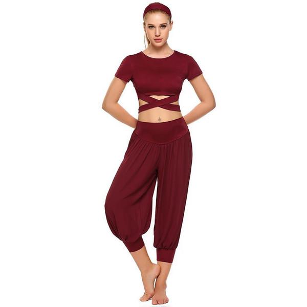 Женщины 3 шт Йога Установить Короткие рукава Crop Обрезанные Solid Top шифон брюки лето Упругие оголовье Набор Фитнес