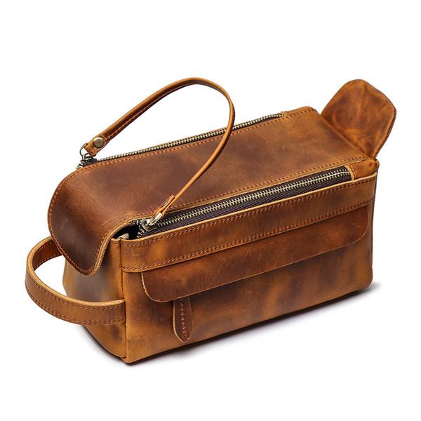 Best-selling multifunctional leather handbag women's cosmetic bag large capacity mad horse skin washing product storage bag