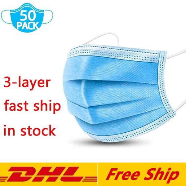 top popular DHL Free Shipping Disposable Masks 3ply Non-woven Face Mask Protection and Personal Health Mask with Earloop Mouth Face Sanitary Masks 2021