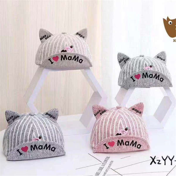 Spring and summer new baby cap cartoon letter R ear sun hat Stripe I love mom hat