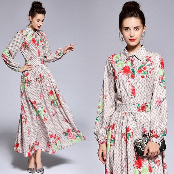 bc74c2fb 2019 Women Classic Letter Print Shirt Maxi Dresses Luxury Ladies Casual Ribbon  Tie Collar Long Sleeve