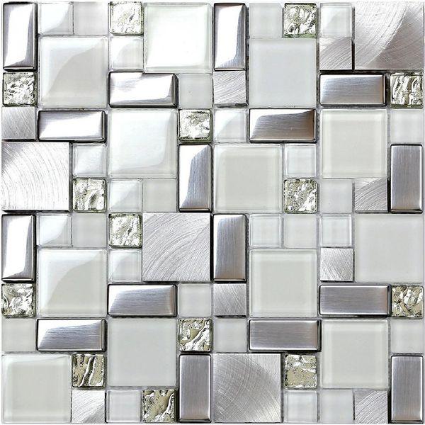 Acquista Vetro Bianco Di Cristallo Mosaico Backsplash Tegola In Alluminio  Metallico In Acciaio Inox Mosaico Cucina Bagno Parete Di Vetro SSMT104 ...