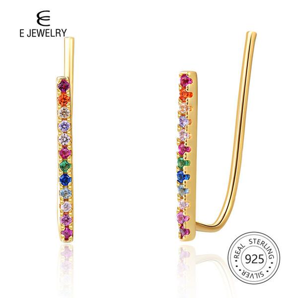 14k plaqué or 925 boucles d'oreilles en argent Sterling pour les femmes arc-en-ciel clip sur boucles d'oreilles coréenne bijoux de mode 2019 filles oreille manchette MX190720