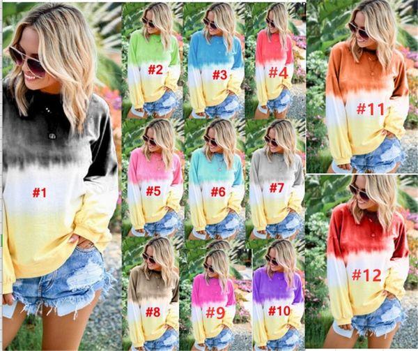 Blusa de las mujeres Sudaderas con capucha sueltas del arco iris Gradient Tie Dye Sudaderas de color Pullover de manga larga Camisas Tallas grandes Ropa de dormir casual B82201