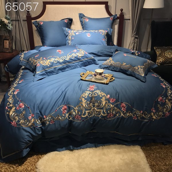 Classic Embroidery Blue Luxury Bedding Set Queen King size Bed set Egyptian Cotton bed sheet set duvet cover pillowcase