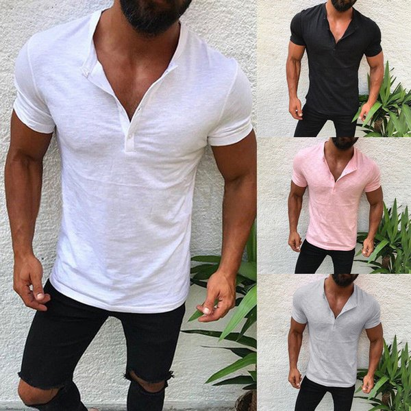 T-shirts d'été à manches courtes noir blanc solide avec bouton Casual Designer T-shirts en vrac S-2XL