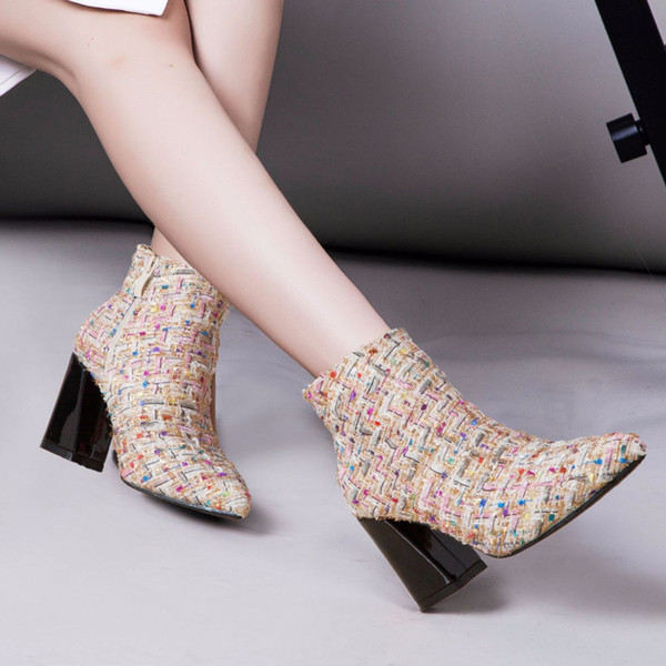 teahoo wool blends plaid ankle boots for women fur plush winter shoes ladies high heels booties pointed toe bling women boots