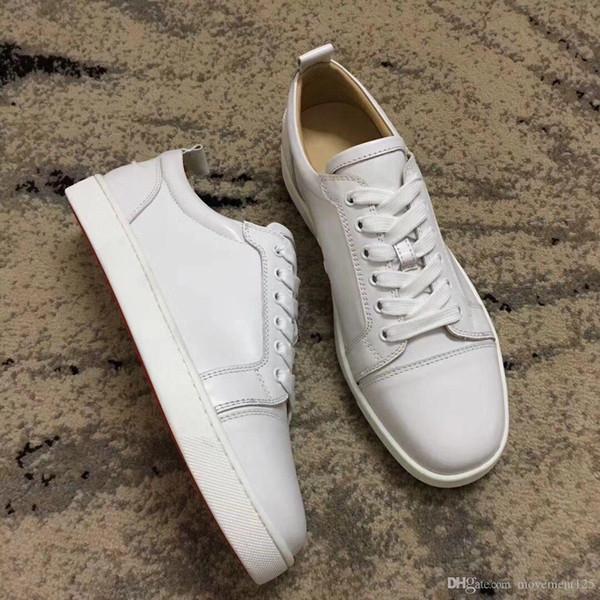 Heiße Verkaufs-Art und Weise Mens beiläufige Schuhe weißen echtes Leder-rote Unterseite Turnschuhe Mode Damen Herren Freizeit Schuhe