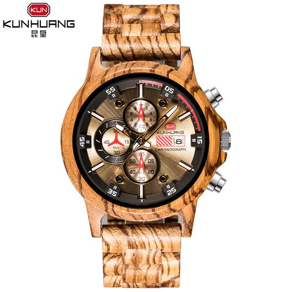 Sport Wooden Men Watch Relojes de cuarzo de madera Diseño único Cronógrafo casual Fecha Reloj de hombre Relojes de pulsera relogio masculino