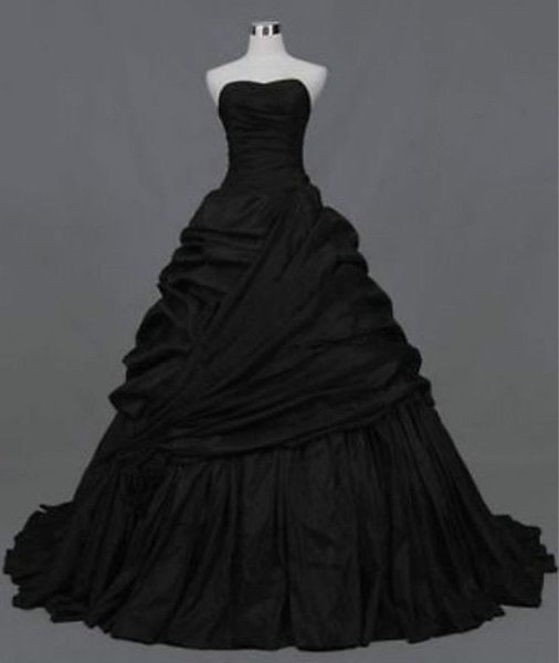 Black Taffeta Strapless Ball Gown Bridal Gown Gothic Prom Evening Lace Up Back Custom Plus Size Formal Occasion Dress