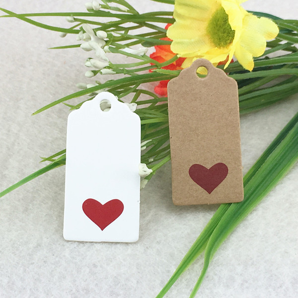 red Heart Scalloped Kraft Paper Card / Blank Tag / Wedding Favour Gift Tag Price Label with gift and part tags 200pcs 4x2cm
