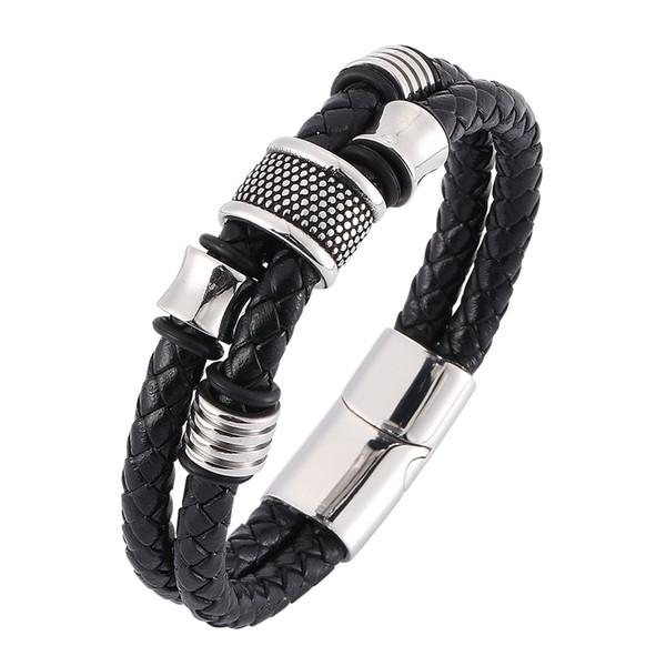 Bracelet en cuir tressé noir de personnalité vintage pour hommes Bracelet en acier inoxydable à boucle magnétique avec charme de mode 7-SP0335