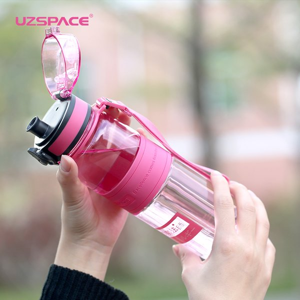Uzspace Water Bottles Fruit Tea Sport Portable Leakproof Shaker Tritan Plastic Drinkware 350ml/500ml/650ml Bpa Free With Filter C19041601