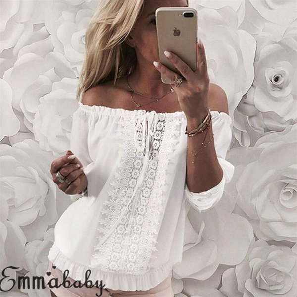 6be54e014f5f Ladies Women T-Shirt Summer Loose Casual Chiffon Long Sleeve Lace White Off  Shoulder T