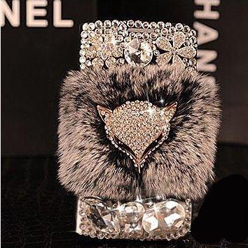 Luxury Fashion Fox Fur Flip Leather Diamond Phone Case For iPhone XS Max XR X 8 7 6S Plus Wallet Stand Pouch Bag Case Card Solts