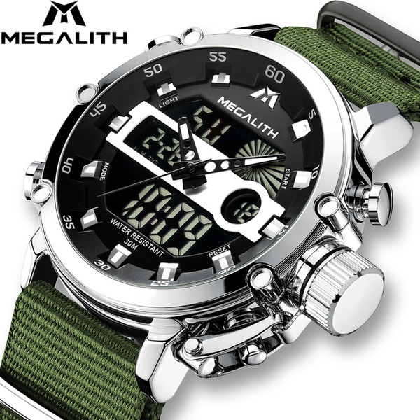 Relogio Masculino MEGALITH Sport Montres Waterproof Hommes lumineux double affichage alarme Top Marque de luxe Quartz gros 8051 LY191206