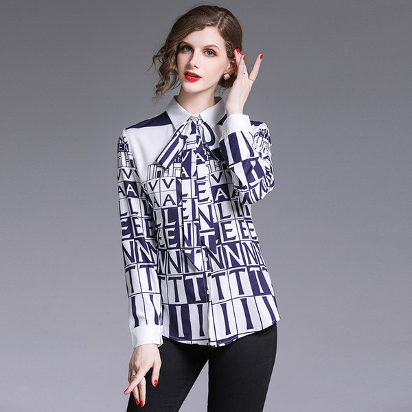 best selling New Hot 2019 Runway Fashion Vintage Letter Print OL Women's Blouses Ladies Casual Office Button Front Bow Tie Neck Long Sleeve Shirts Tops