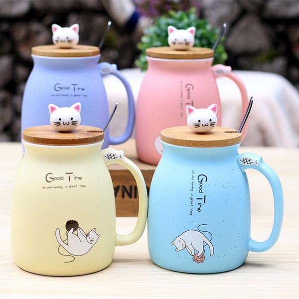 Gato lindo, resistente al calor, color de dibujos animados con tapa, taza, gatito, taza de cerámica, niños, regalos de oficina, venta al por mayor
