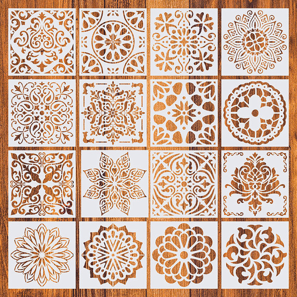 top popular 16Pcs Pack Home Decorative 15*15cm Vintage Pattern Craft Layering Stencils Template For Wall Floor Furniture Painting Decorative 2021