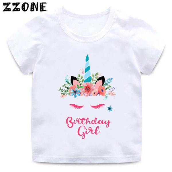Дети Единорог футболка с Днем рождения девушка печати смешные футболки девочки мультфильм лето с коротким рукавом одежда, ooo5249