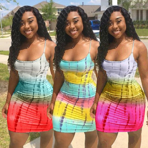 Mulheres Spaghetti Strap Mini Vestidos de Verão Sem Mangas Saias Curtas Sexy Beachwear Bodycon Vestidos de Roupas Plus Size S-3XL 66