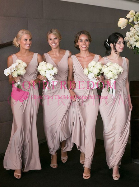 top popular Modest A-Line V-Neck Bridesmaid Dress A Line Plus Size Ankle-Length Blush Stretch Satin Maid Of Honor Wedding Guest Gown For Country Wedding 2021