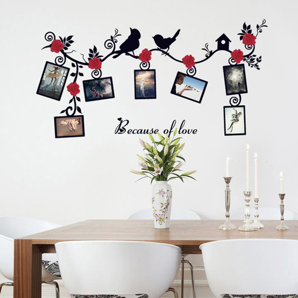 Black Love Bird Red Flowers Vine Photo Frame Wall Stickers Home Decor Parlor TV Sofa Wall Poster Self-adhesive DIY PVC Art Mural