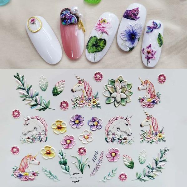 Compre 1 Hoja 3d Flores En Relieve Hoja Deslizadores De Agua Pegatinas Para Uñas Calcomanías Diseños Grabados En Acrílico Láminas Para Tatuajes