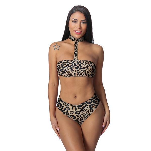 Kadın Seksi Leopar Bikini Yüksek Elastik Sıska Deldi Mayo Asılı boyun iki adet seksi Brezilyalı stroje k pielowe damski