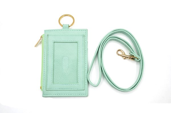 Slim PU neck badge card wallet with lanyard Hot sale Mini Card Holder Portable ID Card Bus Cards Cover Case Office Work Keychain Tool