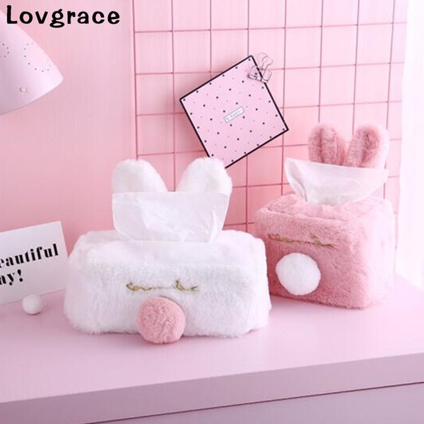 Boxes Sweet Color Pink White Plush Rabbit Tissue Box Durable Home Car Hotel Sofa Paper Tissue Holder Napkin Case Pouch Girl's Gift