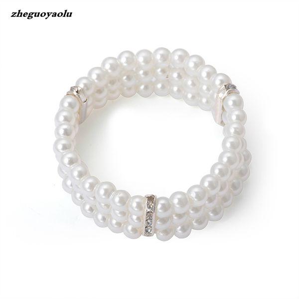2019 nuova moda femminile a tre strati strass imitazione perla braccialetto elegante multi-strato di gioielli elastici braccialetto nuziale