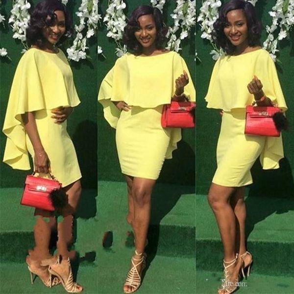 Africano Nigeriano Manto Curto Capa de Coquetel Vestidos Mangas Meia Baratas Preto Meninas Dance Club Desgaste Prom Dress Party Vestidos Custom Made