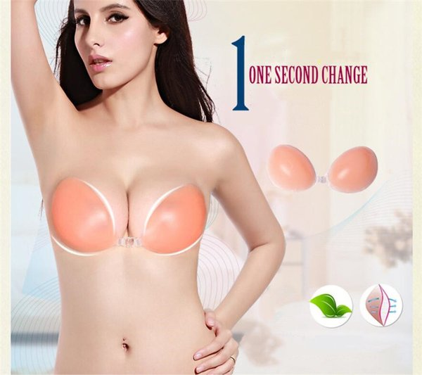 Ladies Freebra Strapless Invisible Silicone Adhesive Invisible Bra Stick On Bust Body Breast Push Up Strapless Backless Bra A B C D A42401