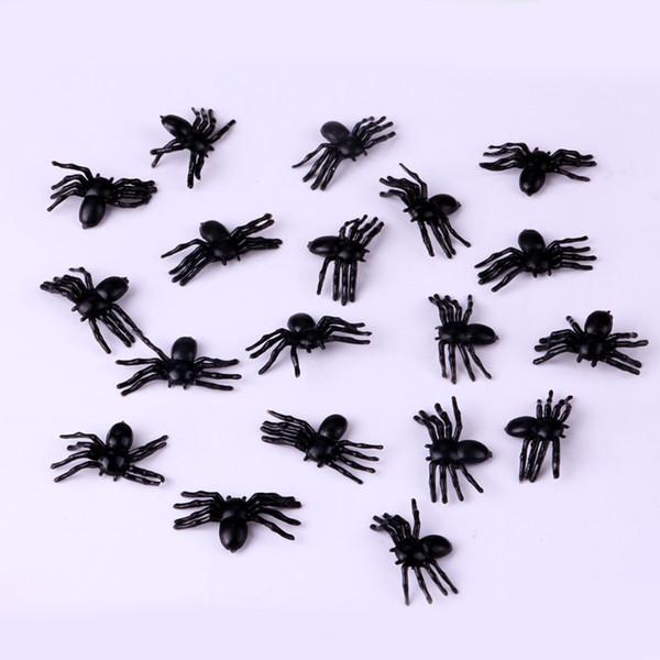 100X YENİ Plastik Siyah Örümcek Oyuncak Cadılar Bayramı Perili Ev Gerçekçi Prop Simülasyon Sahte Örümcek Yüksek Kalite