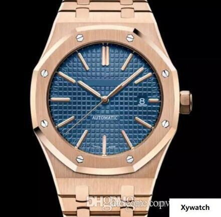 Royal Oak Azul Dial Mecânico Automático Transparente Caso Voltar Rosa de Ouro Mens Watch Relógios 41 MM Pulseiras de Aço Inoxidável Pulseira