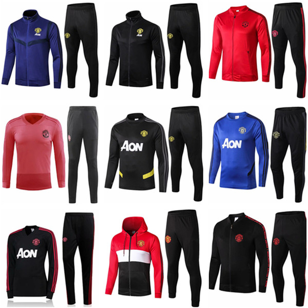 top popular 19 20 manchester training suit men Lukaku RASHFORD football jacket sportswear blue foot jogging 2019 POGBA United Soccer Tracksuit 2020