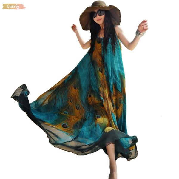 Mulheres sem mangas Chiffon Maxi vestido da pena do pavão impressão Túnica Roupa descontraída balanço frouxo Sash Long Beach Vestem roupas de grife
