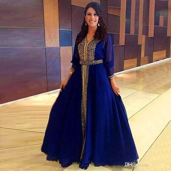 Sparkly Gold Beaded Muslim Blue Evening Dresses 2020 Dubai Kaftan Formal Party Moroccan Royal Blue Prom Dresses Floor-Length Mother Gowns