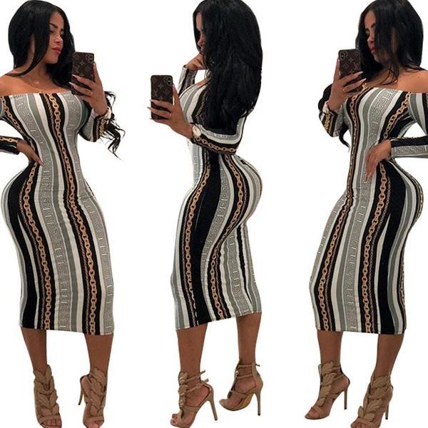 Jupe sexy de magasin de nuit de mode de loisirs avec des robes imprimées par manches longues en Europe et en Amérique robes chaudes de vente